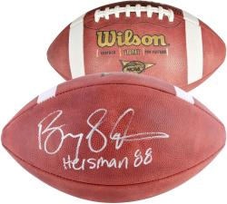 Barry Sanders Oklahoma State Cowboys Autographed NCAA Wilson Football with Heisman 88 Inscription - Mounted Memories