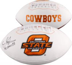 Barry Sanders Oklahoma State Cowboys Autographed White Panel Football with Heisman 88 Inscription - Mounted Memories