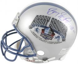 Barry Sanders Detroit Lions HOF Decal Autographed Pro-Line Riddell Authentic Helmet with HOF 04 Inscription-Limited Edition of 120 - Mounted Memories