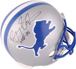 Barry Sanders Detroit Lions Autographed Riddell Replica Helmet with HOF 04 Inscription - Mounted Memories
