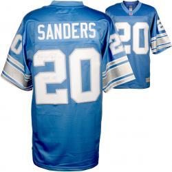 Barry Sanders Detroit Lions Autographed Pro Line Blue Jersey with HOF 04 Inscription - Mounted Memories