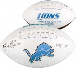 Barry Sanders Detroit Lions Autographed White Panel Football with HOF 04 Inscription - Mounted Memories