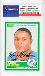 Barry Sanders Detroit Lions Autographed 1989 Score #257 Rookie Card with HOF 2004 Inscription - Mounted Memories