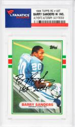 Barry Sanders Detroit Lions Autographed 1989 Topps #83T Rookie Card with HOF 2004 Inscription - Mounted Memories
