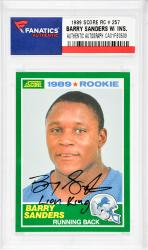 Barry Sanders Detroit Lions Autographed 1989 Score #257 Rookie Card with Lion King Inscription