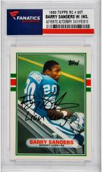 Barry Sanders Detroit Lions Autographed 1989 Topps #83T Rookie Card with Lion King Inscription - Mounted Memories