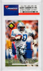 Barry Sanders Detroit Lions Autographed 1994 Pro Line Live #38 Card with Lion King Inscription - Mounted Memories  - Mounted Memories