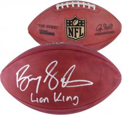 Barry Sanders Detroit Lions Autographed Duke Pro Football with Lion King Inscription - Mounted Memories