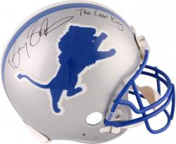 Barry Sanders Detroit Lions Autographed Pro-Line Riddell Authentic Helmet with The Lion King Inscription - Mounted Memories