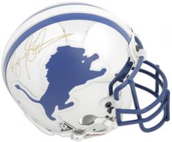 Barry Sanders Detroit Lions Autographed Chrome Mini Helmet - Mounted Memories