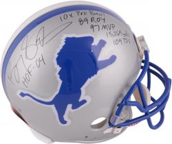 Barry Sanders Detroit Lions Autographed Riddell Pro-Line Authentic Helmet with Multiple Inscriptions-#2-19 of a Limited Edition of 20