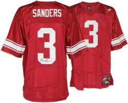 Barry Sanders Wichita High School Autographed Nike Red Jersey - Mounted Memories