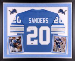 Deluxe Framed Barry Sanders Autographed Jersey