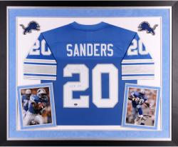 "Barry Sanders Autographed Lions Jersey - ""HOF"" Inscription, Deluxe Framed"