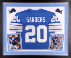 "Barry Sanders Autographed Lions Jersey - ""HOF"" Inscription, Deluxe Framed"