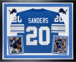 Barry Sanders Detroit Lions Autographed Deluxe Framed Proline Blue Jersey with Multiple Inscriptions-#2-19 of a Limited Edition of 20