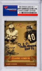 Barry Sanders Detroit Lions & Gale Sayers Chicago Bears Autographed 2006 Donruss #CC-1 Card with HOF 77 Inscription