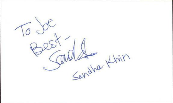 "SANDHA KIHN BLADE RUNNER Signed 3""x5"" Index Card"