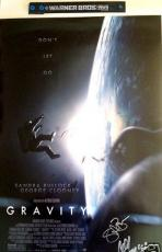 Sandra Bullock & Alfonso Cuaron signed auto Gravity 2013 Comic-Con movie poster
