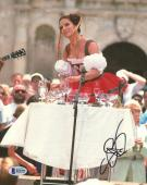 """Sandra Bullock Autographed 8"""" x 10"""" Miss Congeniality Playing with Water Glasses Photograph - Beckett COA"""