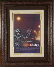 Sandra Bullock signed Crash 22X30 Masterprint Poster Custom Leather Framed 7 cast sigs (movie/entertainment/photo)