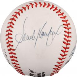 Sandy Koufax, Bob Feller, and Warren Spahn Autographed Baseball (PSA/DNA)