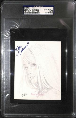 Sara Jean Underwood Signed 2007 Benchwarmer Original Sketch 4x5 Card PSA/DNA COA