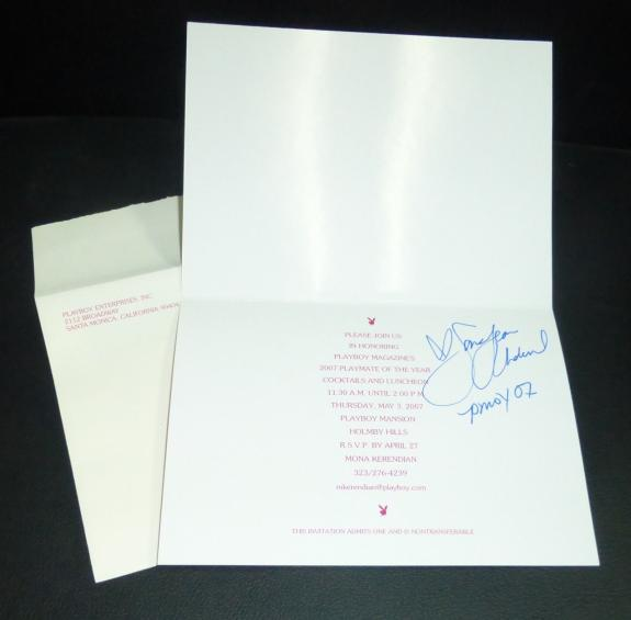 Sara Jean Underwood Signed 2007 Playboy Mansion PMOY Luncheon Invitation PSA/DNA