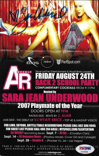 Sara Jean Underwood Signed 2007 Playboy PMOY Party Event Flier PSA/DNA Autograph