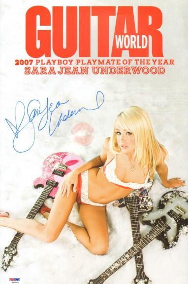 Sara Jean Underwood Signed Lip Print 11x17 Guitar World Magazine Poster PSA/DNA