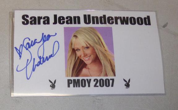 Sara Jean Underwood Signed Personal Used Playboy Event Name Tag Badge PSA/DNA