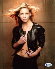 "Sarah Michelle Gellar Autographed 8"" x 10"" Posing Wearing Open Jacket Photograph - Beckett COA"