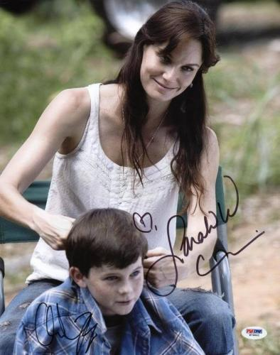 Sarah Wayne Callies & Chandler Riggs Walking Dead Signed 11X14 Photo PSA #W79862