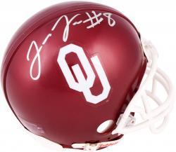 Jalen Saunders Oklahoma Sooners Autographed Riddell Mini Helmet