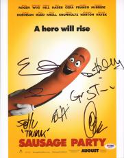 Sausage Party Cast 7x Signed 11x14 Photo PSA/DNA COA w/ Seth Rogen Evan Goldberg