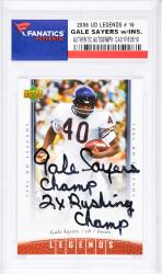 Gale Sayers Chicago Bears Autographed 2006 Upper Deck Legends #16 Card with 2 X Rushing Champ Inscription - Mounted Memories  - Mounted Memories