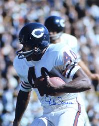 Gale Sayers Chicago Bears Autographed 16'' x 20'' White Uniform Close Up Photograph - Mounted Memories  - Mounted Memories