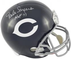 Gale Sayers Chicago Bears Autographed Riddell Replica Throwback Helmet with HOF 77 Inscription - Mounted Memories