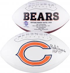 Gale Sayers Chicago Bears Autographed White Panel Football with HOF 77 Inscription - Mounted Memories