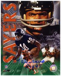 "Chicago Bears Gale Sayers Autographed 8'' x 10'' Photograph with ""1965 ROY"" Inscription - Mounted Memories"