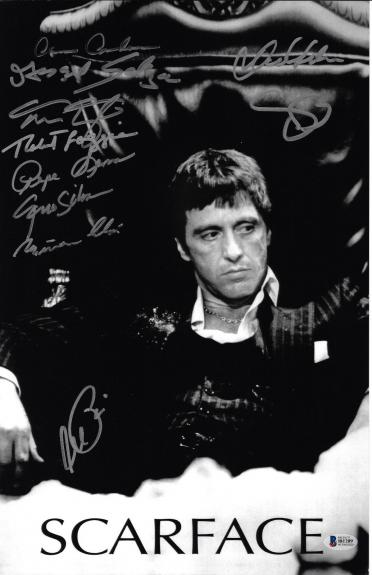 Scarface Cast Autographed 11x17 Movie Poster Photo Al Pacino Beckett BAS LOA