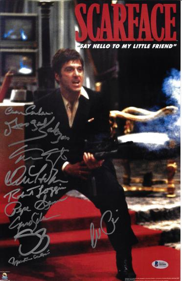 Scarface Cast Autographed 11x17 Movie Poster Photo Al Pacino - Beckett BAS 7