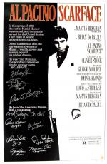 Scarface Cast Signed Movie Poster - 10 Signatures -  Abraham, Bauer, Loggia, Salazar,