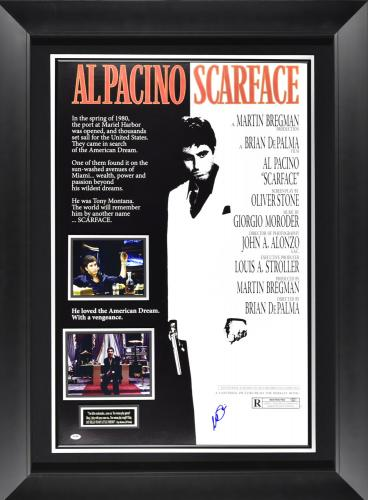 Scarface poster signed by Al Pacino Framed 36×49