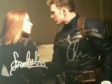 Scarlett Johansson Chris Evans Captain America Signed AUTOGRAPHED Photo JSA COA