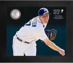 Max Scherzer Detroit Tigers Framed 20'' x 24'' Gamebreaker Photograph with Game-Used Ball - Mounted Memories