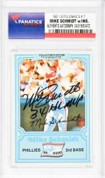 Mike Schmidt Philadelphia Phillies Autographed 1981 Topps Drake's #7 Card with 3 X NL MVP Inscription - Mounted Memories  - Mounted Memories
