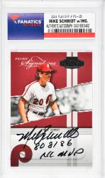 Mike Schmidt Philadelphia Phillies Autographed 2004 Playoff #Ps-25 Card with 80 81 86 NL MVP Inscription - Mounted Memories  - Mounted Memories