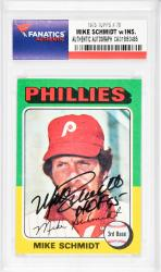 Mike Schmidt Philadelphia Phillies Autographed 1975 Topps #70 Card with HOF 95 Inscription - Mounted Memories  - Mounted Memories