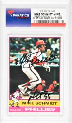 Mike Schmidt Philadelphia Phillies Autographed 1976 Topps #480 Card with HOF 95 Inscription - Mounted Memories  - Mounted Memories